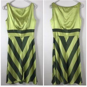 Valentino Spa Green Silk Striped Midi Dress 4